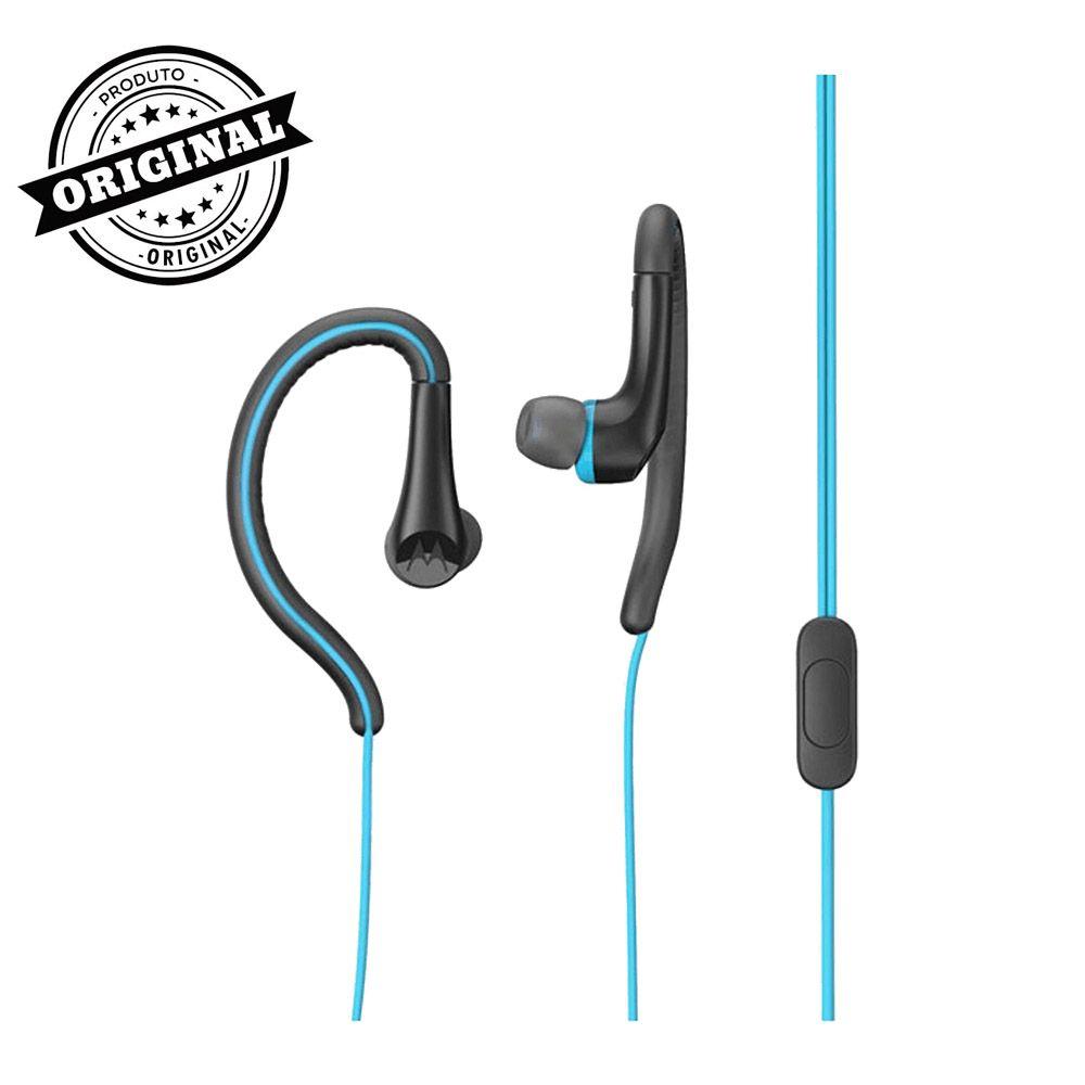 fone de ouvido com microfone motorola earbuds sport azul