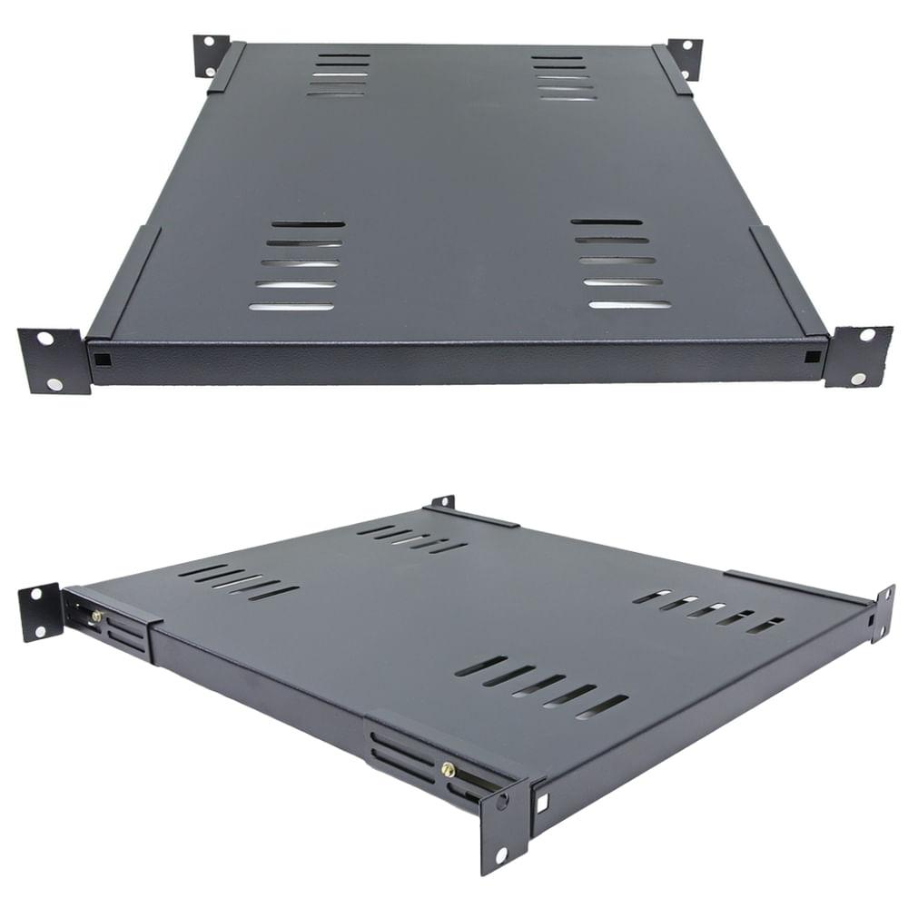 bandeja rack fix frontal 1u x 600mm preto bfr0160pp - tda