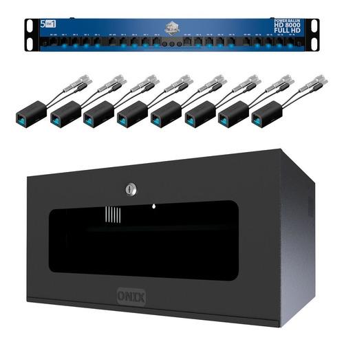 kit gabinete organizador power balun hd 8000 cftv 08 canais com rack 5u onx - 3937