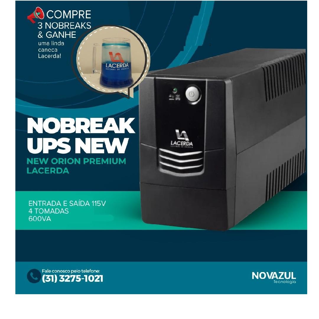 nobreak ups new orion premium 600va entrada e saida 115v 4 tomadas - lacerda