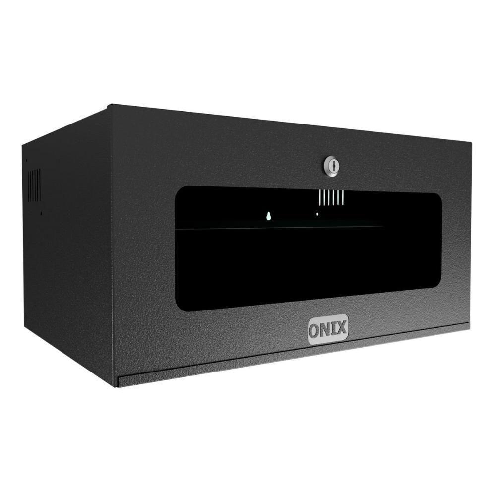 caixa rack metalica 5u organizadora c,  fechadura preto - onix