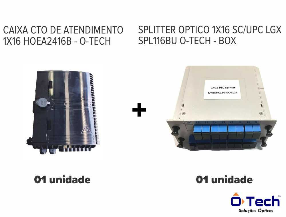 caixa cto 1x16 hoea2416b + splitter box optico 1x16 sc, upc lgx spl116bu